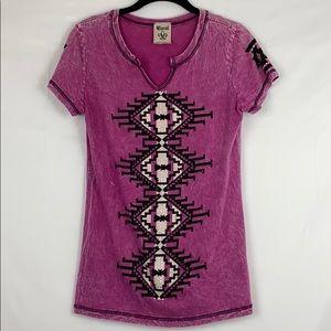 Vocal Rhinestone Split V-Neck Short Sleeve Shirt